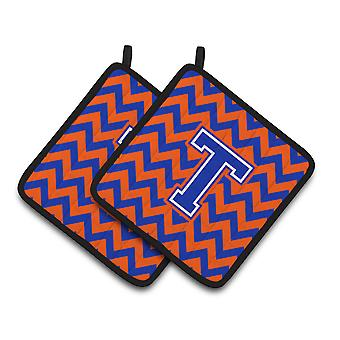 Letra T Chevron naranja y azul par de agarraderas