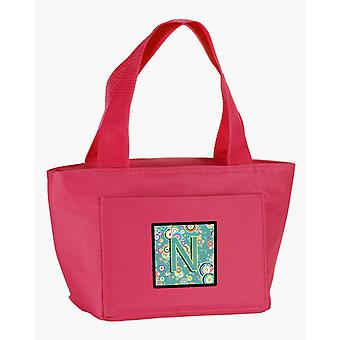 Letter N Circle Circle Teal Initial Alphabet Lunch Bag
