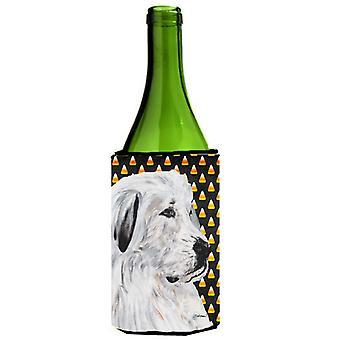 Great Pyrenees Candy Corn Halloween Wine Bottle Beverage Insulator Hugger