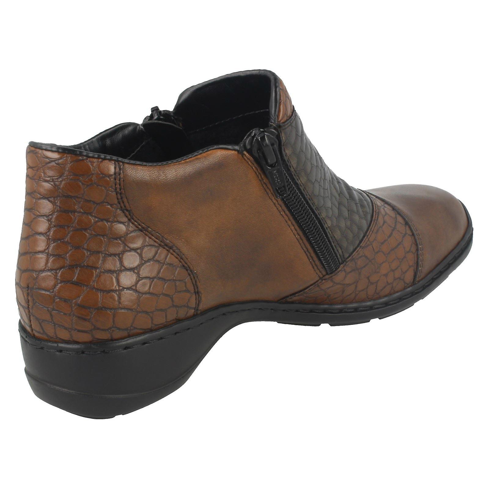Ladies Rieker Double Zip Ankle Boots 58359