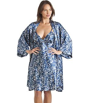 Camille Luxury Kimono Style Blue Floral Print Print Chemise And Wrap Set
