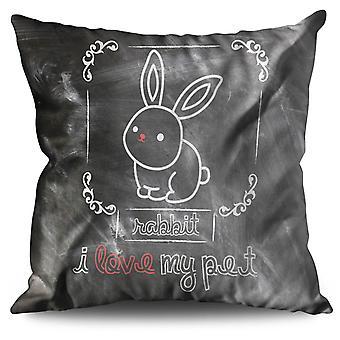 I love my Rabbit Linen Cushion 30cm x 30cm | Wellcoda