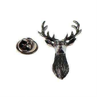 Stags hoofd (vooraanzicht) Engelse tinnen Lapel pins Badge