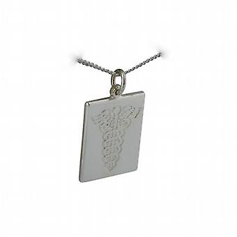 Silver 25x18mm rectangular medical alarm Disc with a curb Chain 24 inches