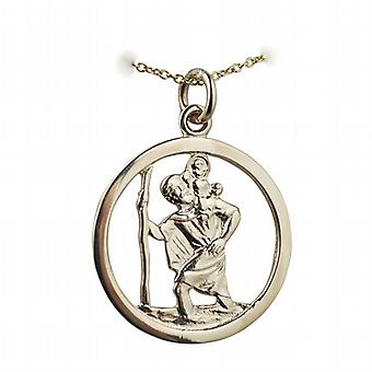 9ct Gold 25mm round pierced St Christopher Pendant with a cable Chain 20 inches
