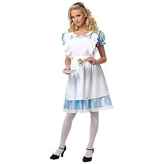 Fantasia de Alice no país das maravilhas vestido longo clássico conto de fadas livro semana mulheres