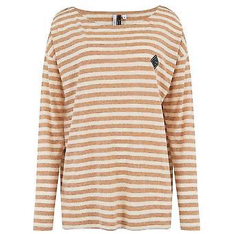 Dierlijke straat strepen lange mouw T-shirt in toffee Apple Brown