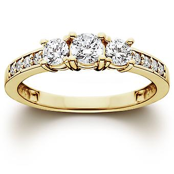 1-3 ط حجر الماس خاتم الخطوبة 10 كيلو الذهب الأصفر