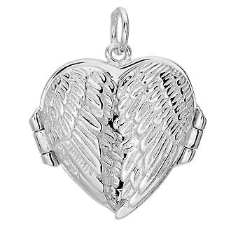 Sterling Silver With Rhodium Finish Heart Pendant Locket With Double Wing - 20 x 20 mm