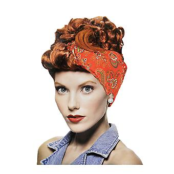 Riveter Red 1950s 40s Pin Up Retro Rockabilly Lucy Landgirl Women Costume Wig