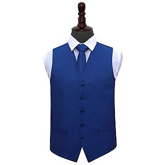 Royal Blue Greek Key Wedding Waistcoat & Tie Set
