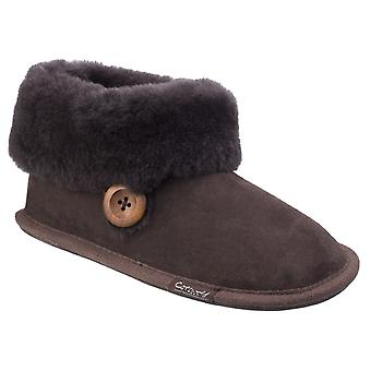 Cotswold Womens Wotton Sheepskin Bootie Chocolate