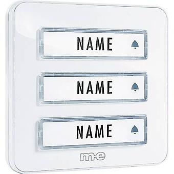 m-e modern-electronics KTA-3 W Bell panel incl. nameplate 3x White 12 V/1 A
