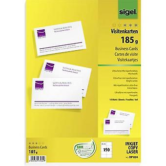 Sigel DP830 Printable business cards (micro-perforated) 85 x 55 mm Bright white 150 pc(s) Paper size: A4