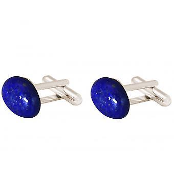 Gemshine kalvosinnapit 925 hopea Lapis lazuli sininen 19mm x 12mm