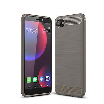 HTC desire 12 pokrywa silikonowe szary węgla wygląda sprawa okładce mobilnych TPU Zderzak 211756