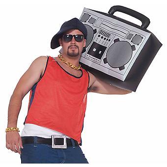 Hip Hop Rapper degli anni 1980 gonfiabile Radio Boom Box Mens Costume accessorio