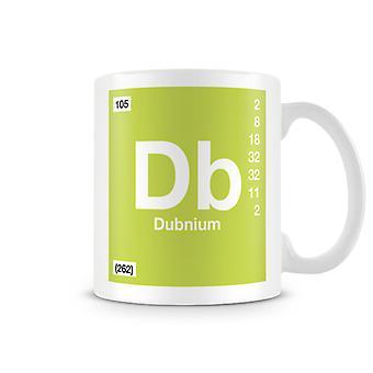 Научные печатные кружка, показывая элемент символ 105 Db - Dubinium