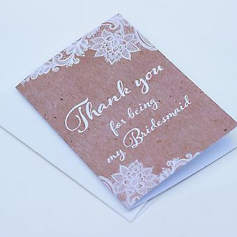 Kraft brun dentelle je vous remercie d'être Ma demoiselle d'honneur unique de carte