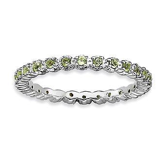 925 sterling sølv polert prong sett mønstret rhodium belagt stables uttrykk peridot ring smykker gaver til Wom