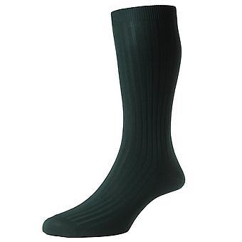 Pantherella Danvers Rib katoen sokken in Schotse draad - donkergroen