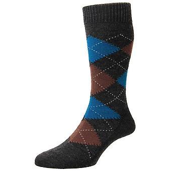 Pantherella Racton Argyle Merino wollen sokken - houtskool