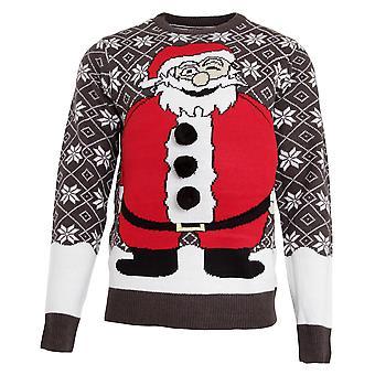 Modig själ Mens vadderad mage Santa stickad jul Jumper