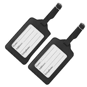 TRIXES 2 X Black Faux Leather Luggage Tag ID Labels