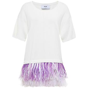 in.no Cashmere Blend Adele Feather Trim Top
