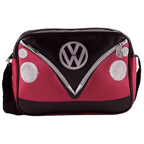 VW Camper Van PVC Retro Messenger Bag - Black + Red