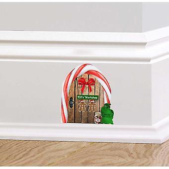 Full Colour kerst Elf Workshop houten deur muur Sticker