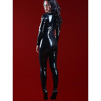 Skin Two Clothing Women's Kinky Sexy Catsuit Latex Rubber Feet Black