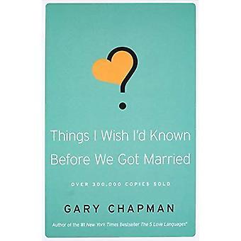 Choses j'aimerais Id connu avant que nous nous sommes mariés