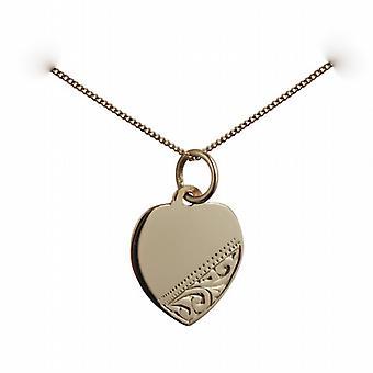 Oro 9ct cuore disco inciso a mano 14x14mm con un cordolo catena 20 pollici