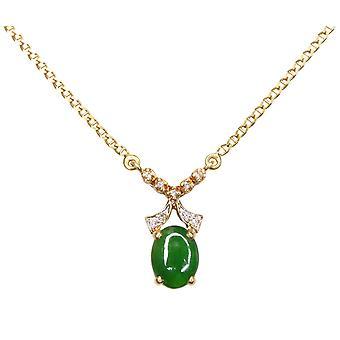 18 k ouro colar com jade e diamantes