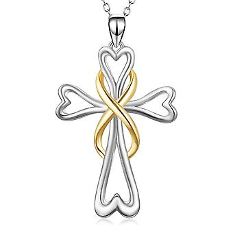 925 Sterling Silver Gold Two Tone Infinity Cross Pendant Necklace