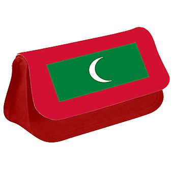 Maldives Flag Printed Design Pencil Case for Stationary/Cosmetic - 0106 (Red) by i-Tronixs