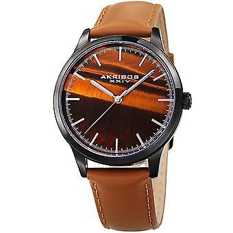 Akribos XXIV mäns ädelsten Dial läderrem Watch AK937TN