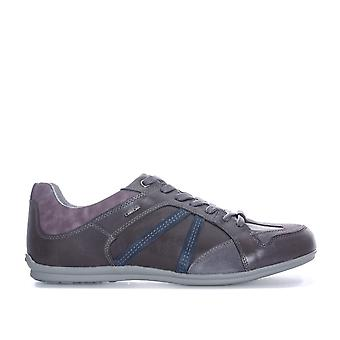 Mens Geox Houston Trainer Shoes In Grey Blue