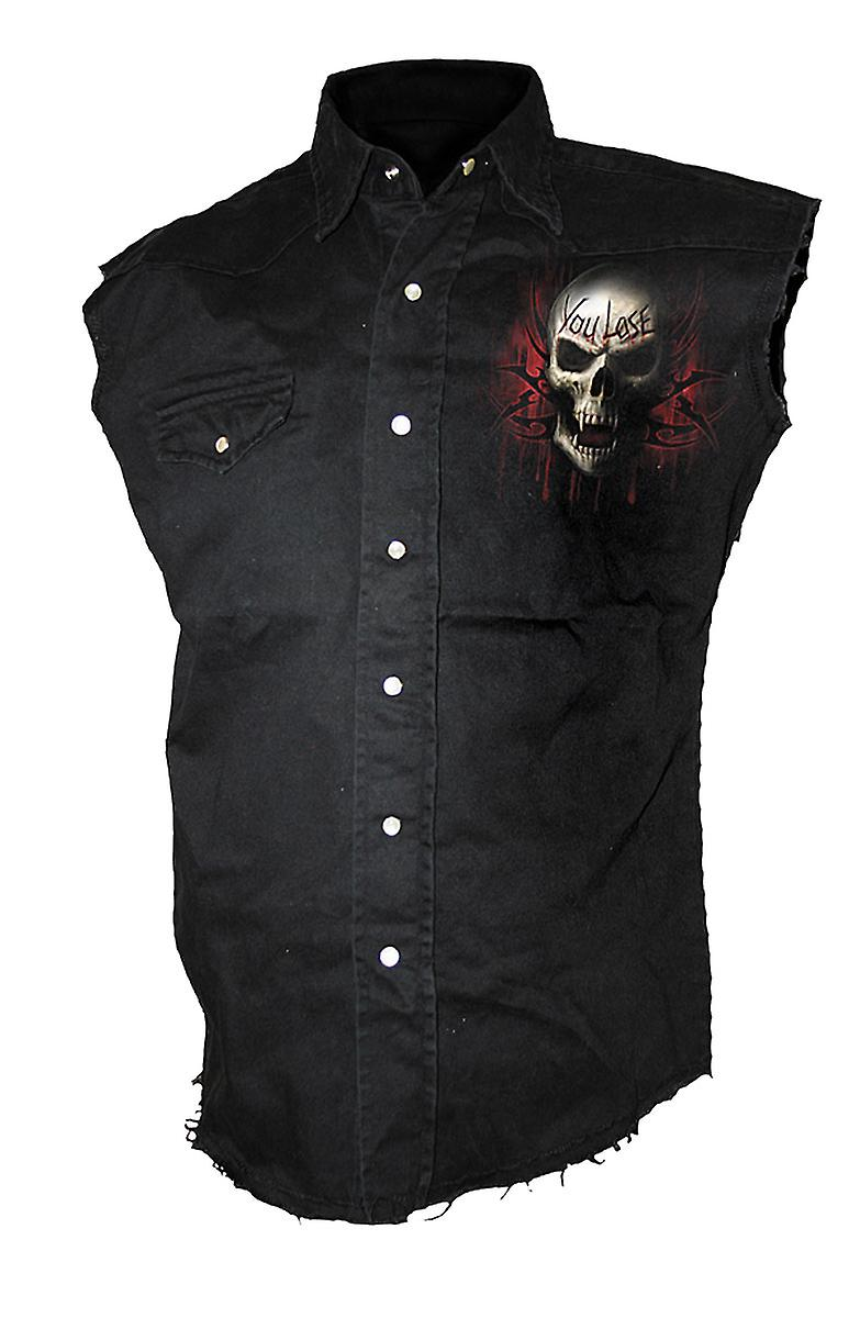 Spiral Direct Gothic GAME OVER - Sleeveless Stone Washed Worker Black|Reaper|Skulls|Death|Tribal