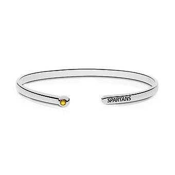 San Jose State University Engraved Sterling Silver Yellow Sapphire Cuff Bracelet
