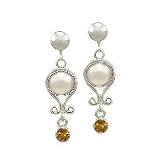 Ewige Collection November Citrin und Perle Sterlingsilber Birthstone Drop Clip auf Ohrringe