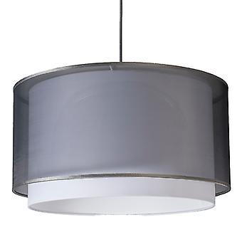 QAZQA lámpara colgante con pantalla blanco y negro ronda 47 cm