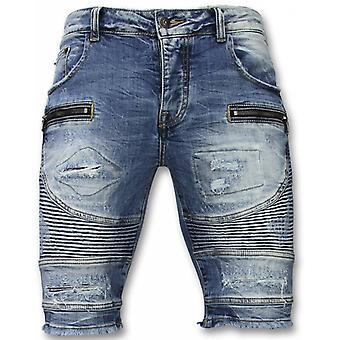 Shorts - Slim Fit Ripped Biker Shorts - Blue
