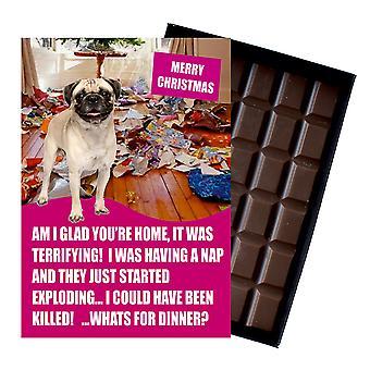 Pug Themed Funny Christmas Gift for Dog Lover Boxed Chocolate Greeting Card Xmas Present
