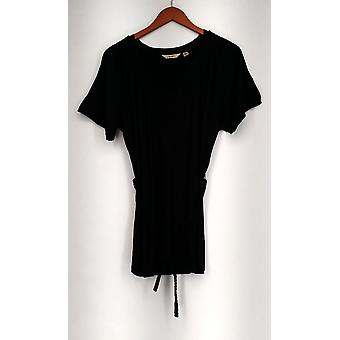 Motto Top V-Neck Raglan Sleeve Smocked Tunic + Braided Belt Dark Black A198416