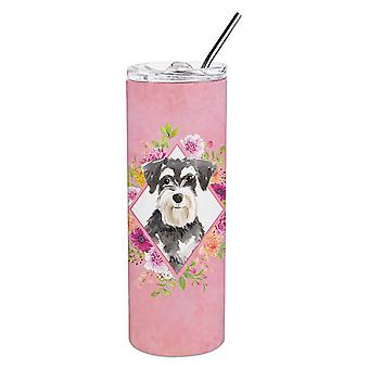 Schnauzer #2 Pink Flowers Double Walled Stainless Steel 20 oz Skinny Tumbler