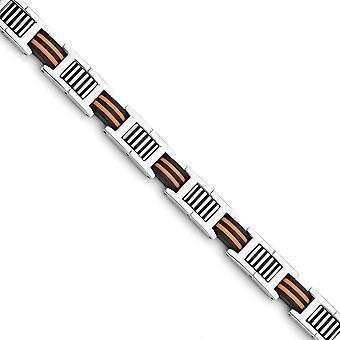 Edelstahl Falten über Orange und schwarz Gummi poliert Armband 8,5 Zoll Schmuck Geschenke für Frauen