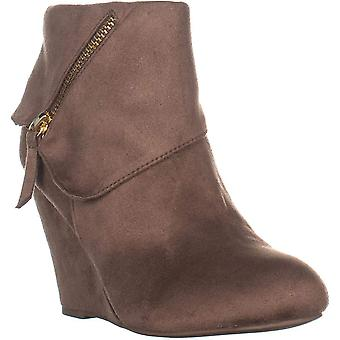 Rebel Senia Zip Up Wedge Ankle Boots, Taupe, 10 US