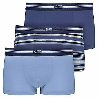 Jockey Cotton Stretch 3-Pack Short Trunks, Construct Blue, Small
